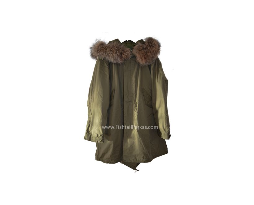 classic olive m1951 fishtail parka with real fur hood