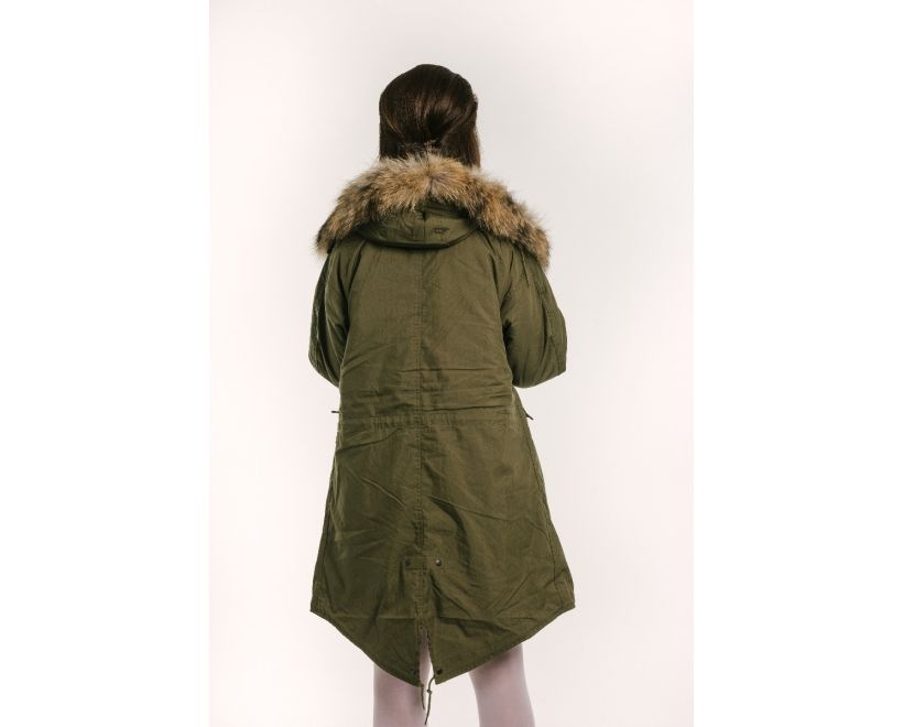 female model wearing classic m-1951 fishtail parka back view