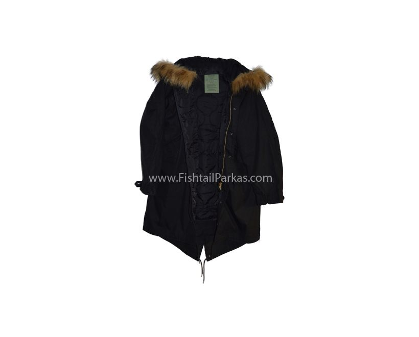 black classic m51 parka with faux fur hood
