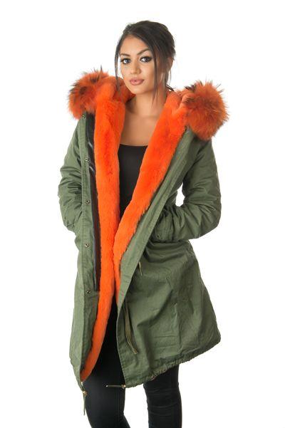 stonetail orange fur parka coat