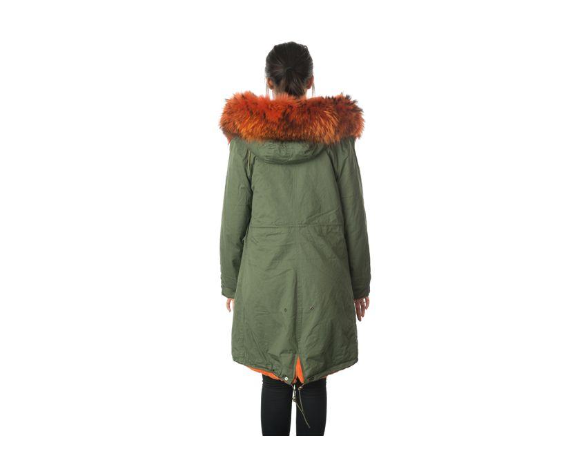 stonetail orange fur parka coat back