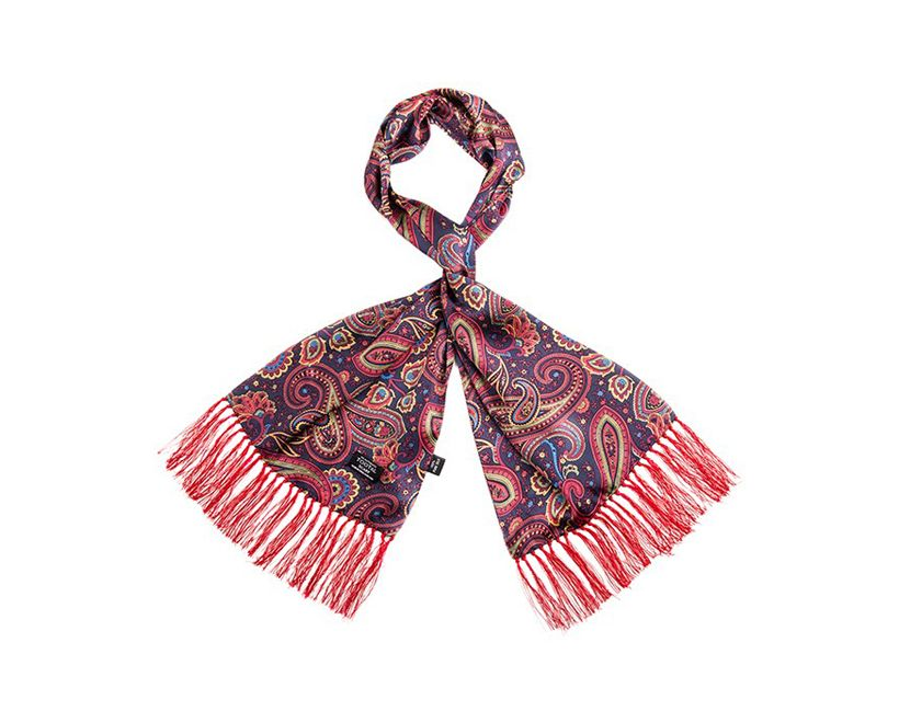 Tootal Silk Scarf Paisley Navy And Red Print