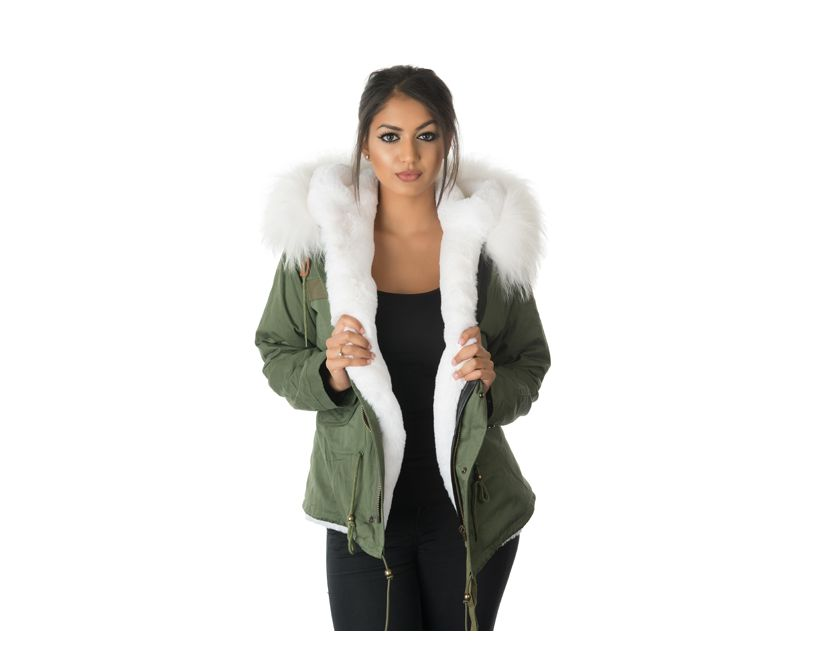 model wearing stonetail white fur parka jacket front view