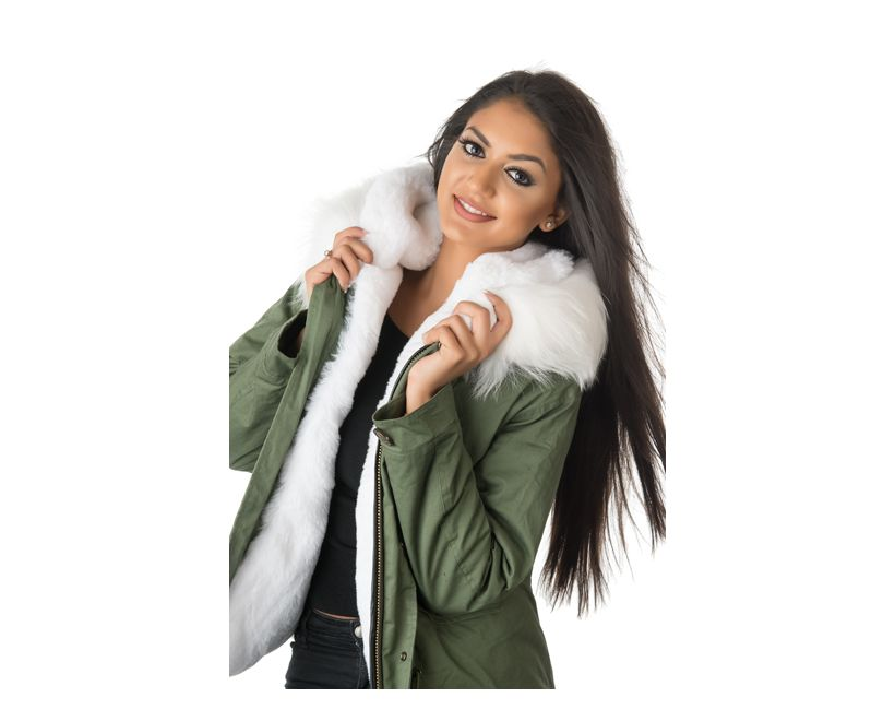 stonetail white fur parka jacket model view front close up