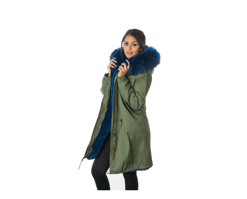 stonetail blue fur parka coat side view