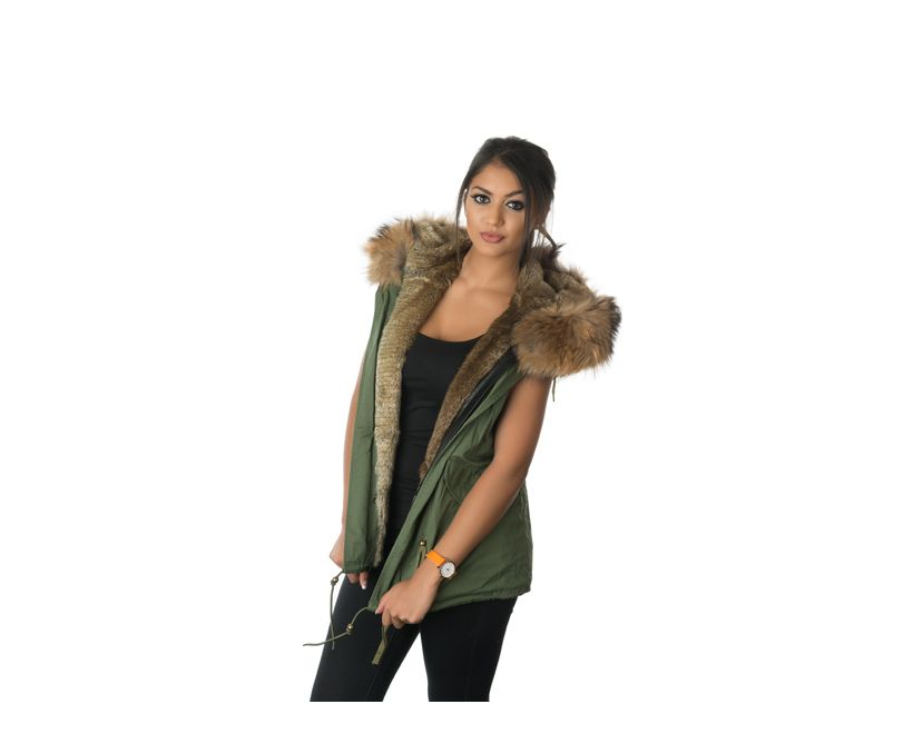 stonetail natural fur gilet model front
