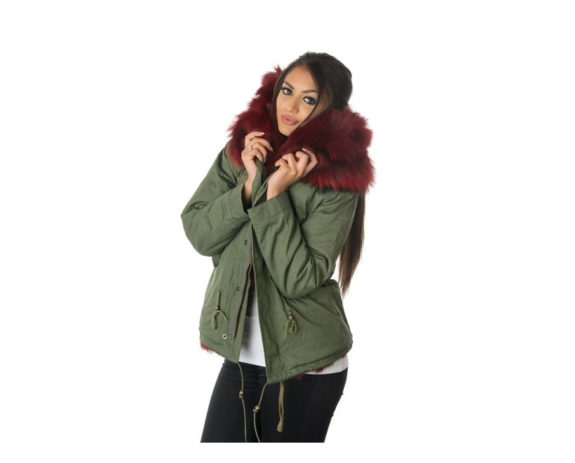stonetail ruby red fox fur parka jacket model front