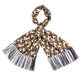 Tootal Silk Scarf Paisley Cream
