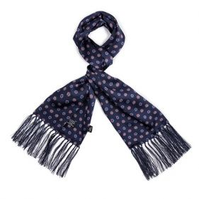 Tootal Silk Scarf Floral Navy