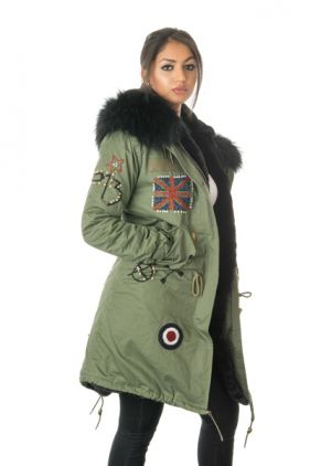 Stonetail Military Badged & Braided Fur Coat