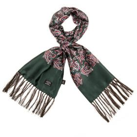 Tootal Silk Scarf Paisley Forest Green