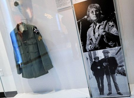 John Lennon army military shirt on display