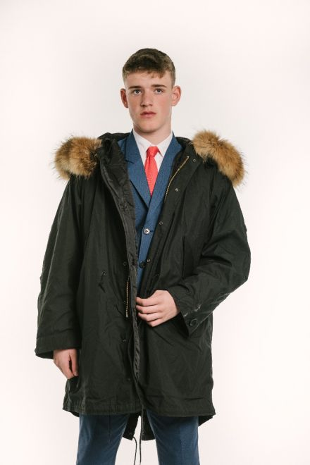 male model wearing black classic M-1951 fishtail parka front view