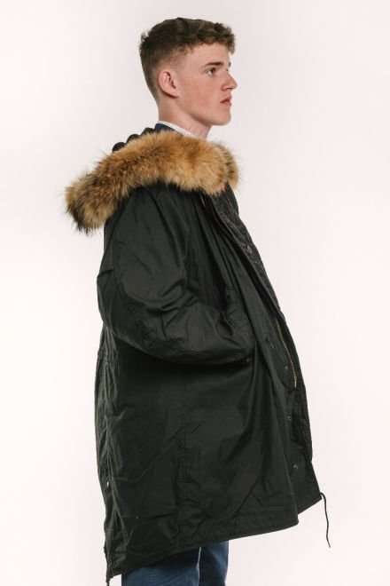 mens classic m51 parka black side view