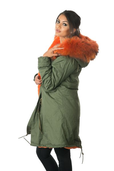 stonetail orange fur parka coat side view