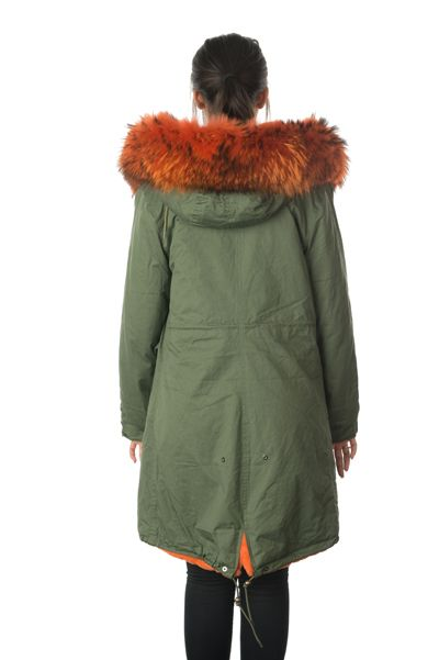 stonetail orange fur parka coat back