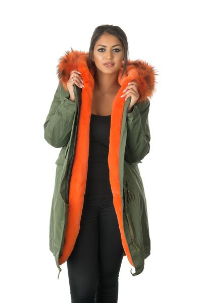 stonetail orange fur parka coat front open view