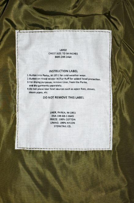 stonetail m51 parka liner label