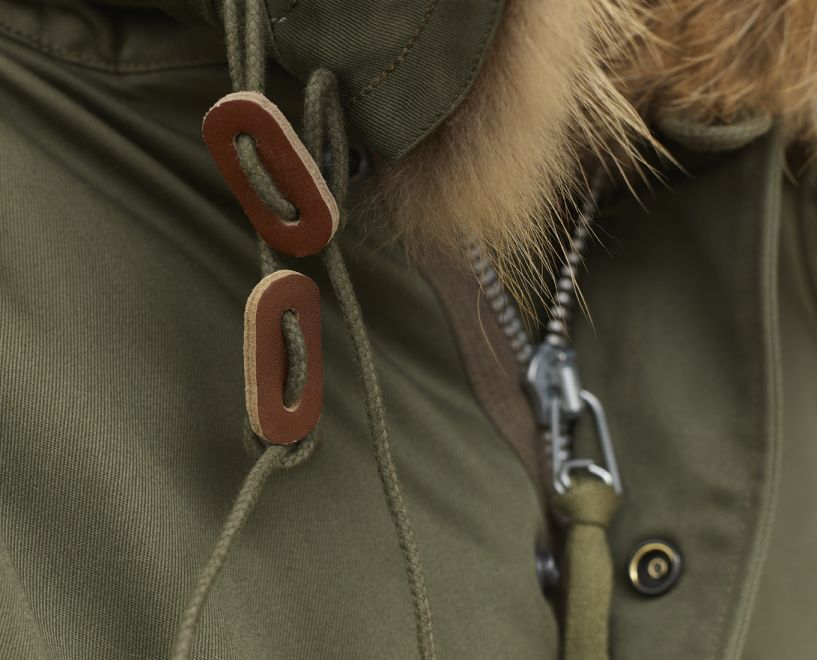 parka leather toggle and zipper detail
