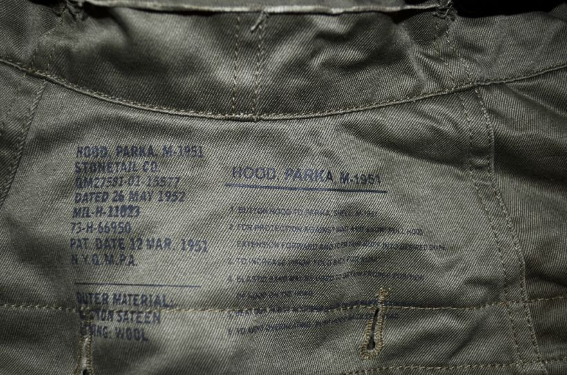 stonetail m51 parka winter hood ink stamps