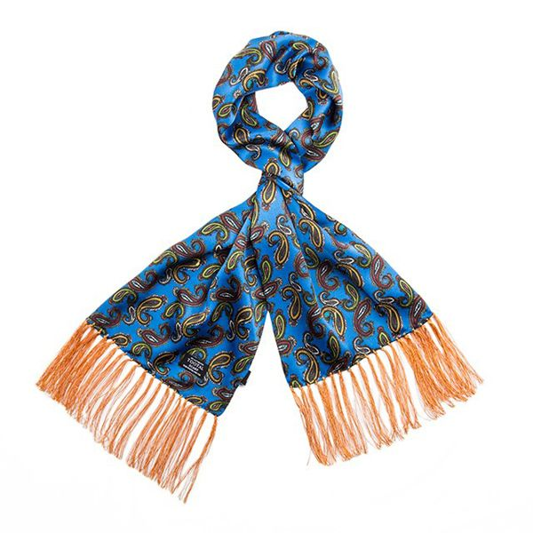 Tootal Silk Scarf Paisley Blue