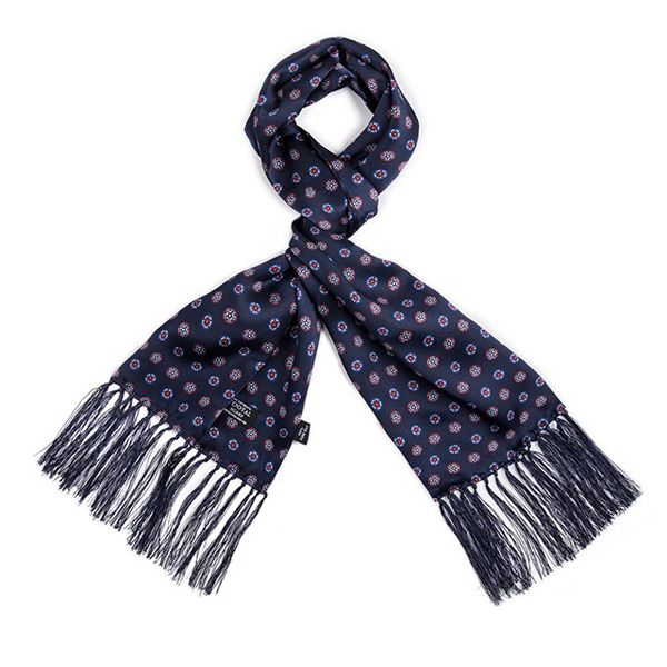 Tootal Silk Scarf Floral Navy Print