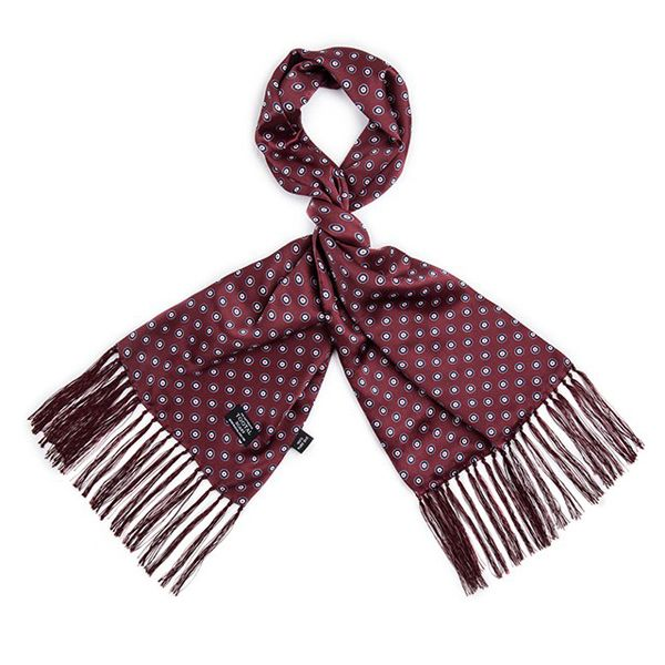 Tootal Silk Scarf Mod Target Wine Red Print