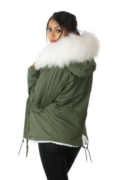 stonetail white fur parka jacket model side and back view
