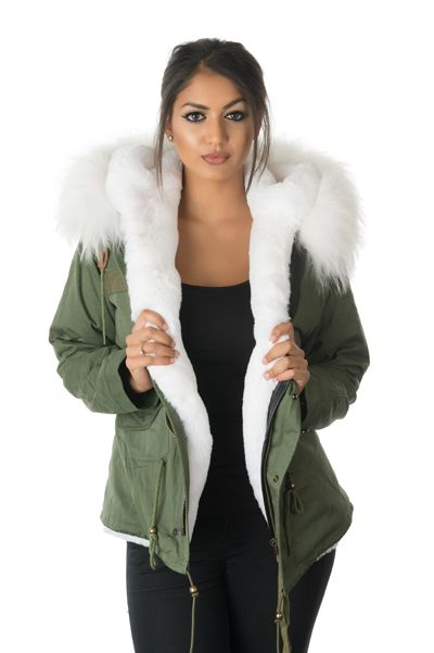model wearing stonetail white fur parka jacket front view