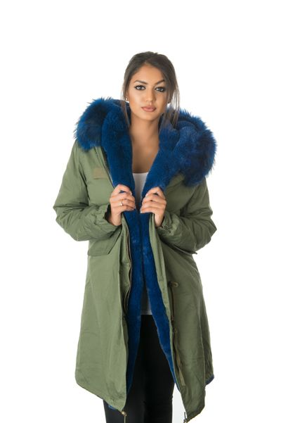 stonetail blue fur parka coat