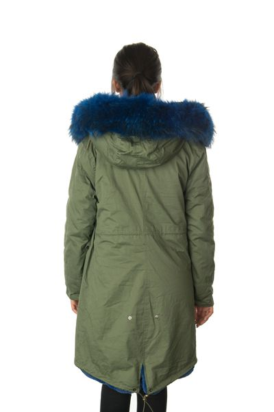 stonetail blue fur parka coat back
