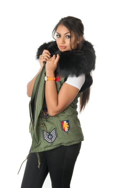 stonetail military badged gilet side view