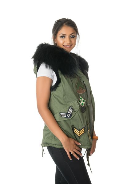 Stonetail Military badged gilet opposite side view