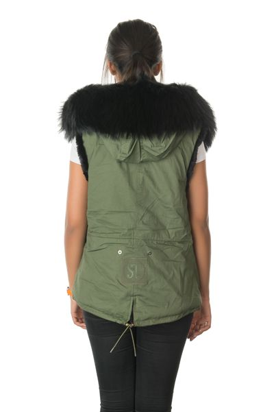 stonetail military badged gilet view of back