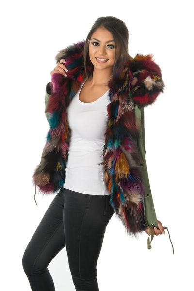 stonetail multi-coloured fox fur parka jacket