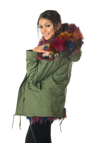 stonetail multi-coloured fox fur parka jacket side closed