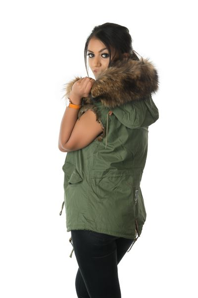 stonetail natural fur gilet model side view