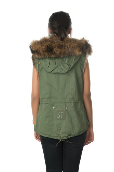 stonetail natural fur gilet back