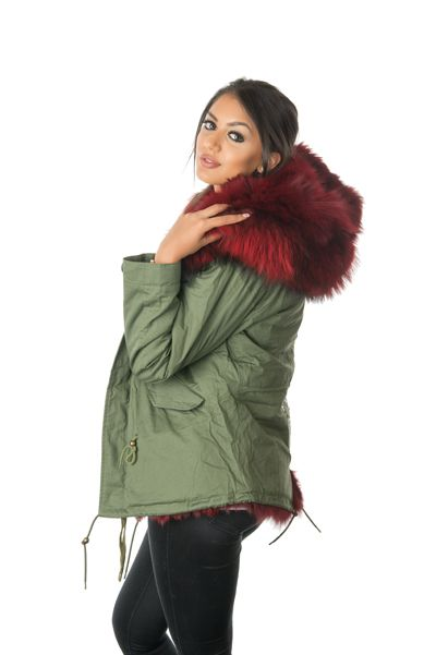 stonetail ruby red fox fur parka jacket side view