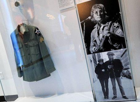 John Lennon army military shirt on display