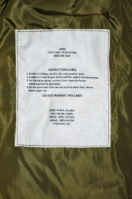 stonetail m51 parka liner label