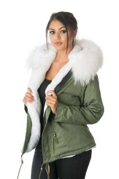 stonetail white fur parka jacket model front