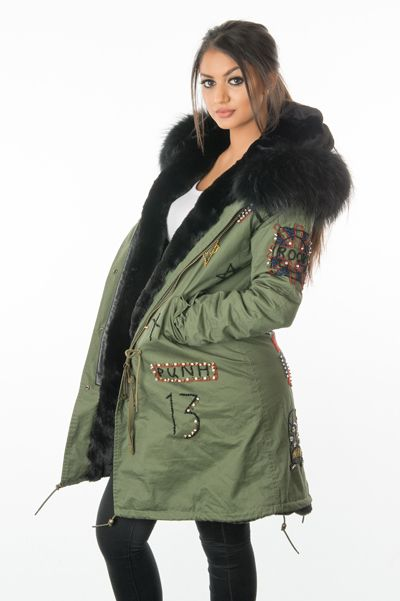 stonetail badged and braided fur parka coat front side view