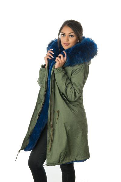 stonetail blue fur parka coat side view