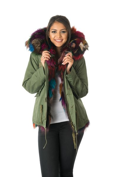 stonetail multi-coloured fox fur parka jacket front view