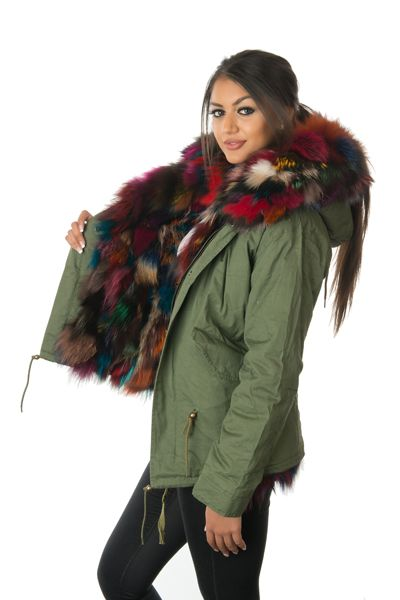 stonetail multi-coloured fox fur parka jacket side open view