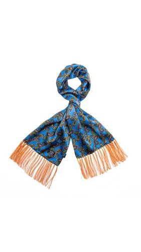 Tootal Silk Scarf Paisley Peacock Blue