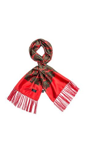 Tootal Silk Scarf Paisley Bright Red