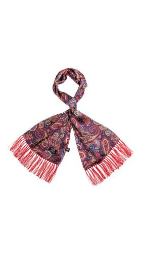 Tootal Silk Scarf Paisley Navy Red