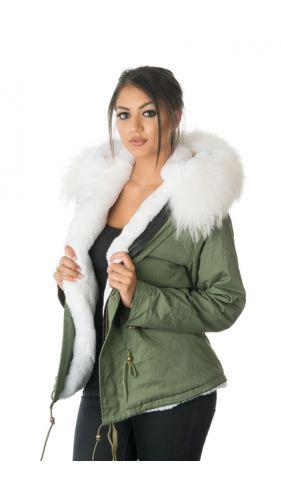 Stonetail White Fur Parka Jacket